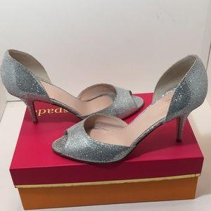 Kate Spade Silver Starlight Heels Pumps Size 9.5 M